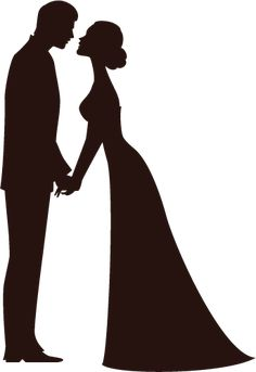 Bride And Groom Silhouette Free Clip Art.