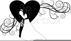 Bride Groom Silhouette Wedding Clipart.