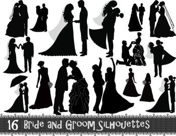 Digital Bride and Groom Silhouette Clip Art Wedding ClipArt.