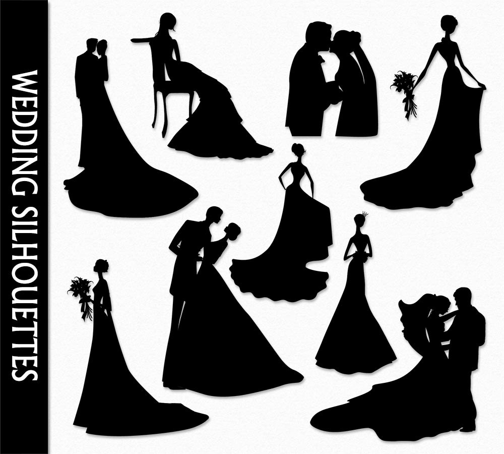 Bride And Groom Silhouette Wedding Clipart.