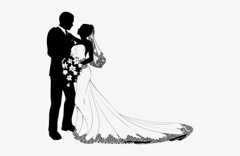 Wedding Clipart/printable Bride And Groom Silhouette,.