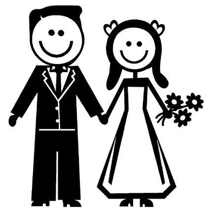 STICK FIGURE FAMILY NEWLYWEDS BRIDE GROOM VINYL DECAL Amazing Bride.
