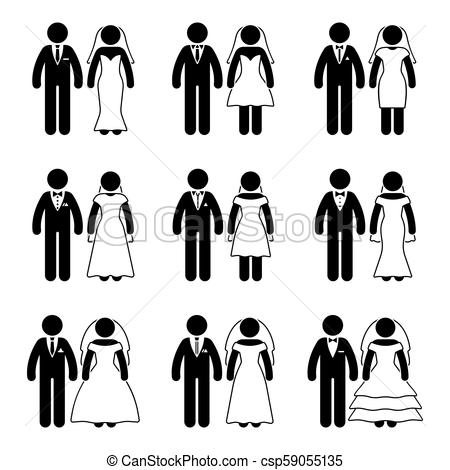 Stick figure just married groom and bride set.