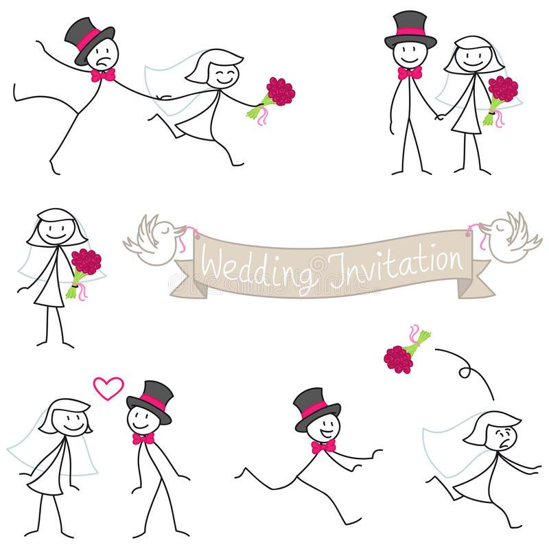 Bride Groom Stick Figure Stock Illustrations.