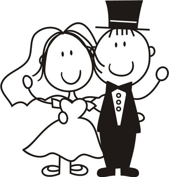 bride and groom stick people.
