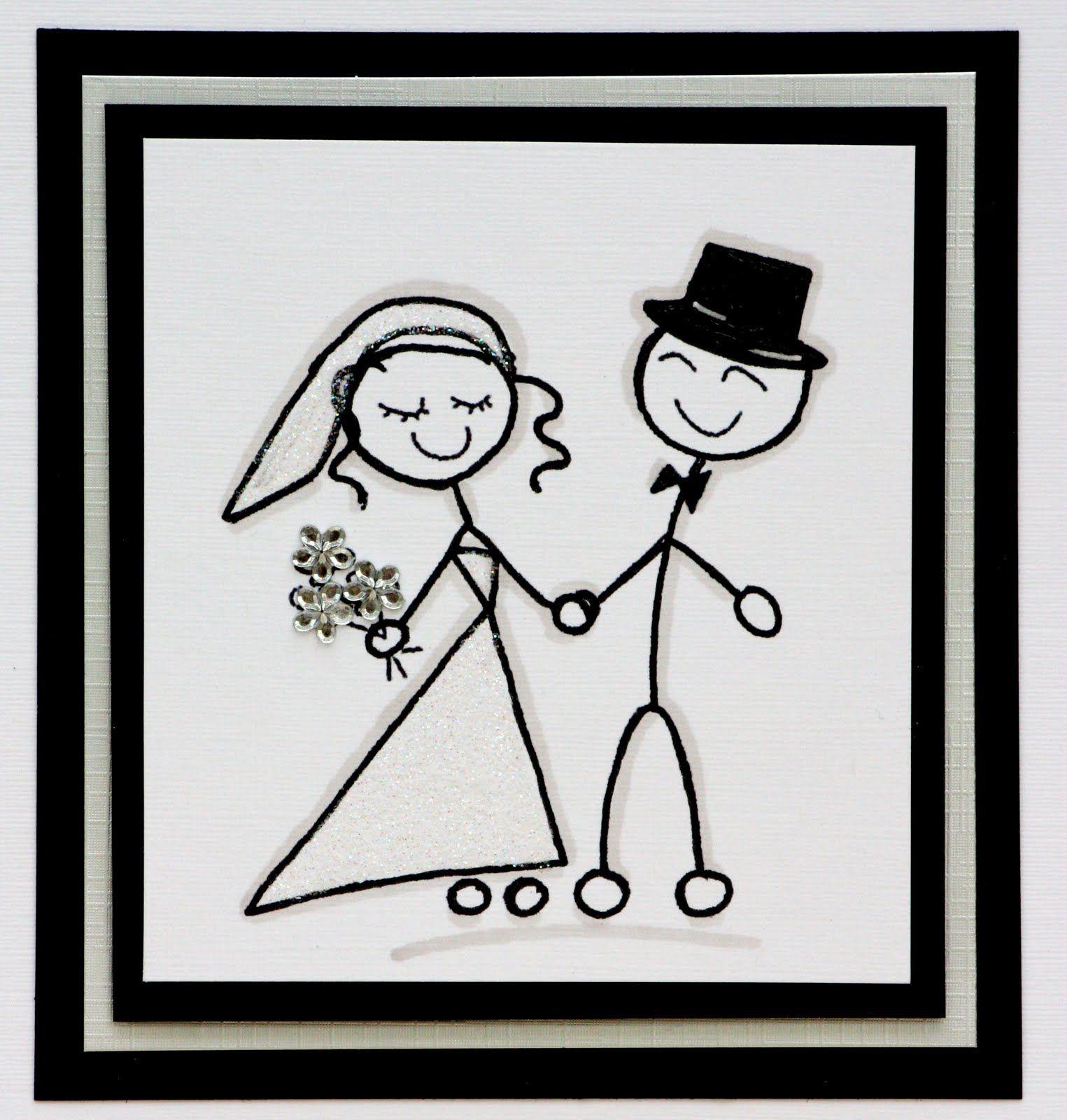 stick figure bride and groom.