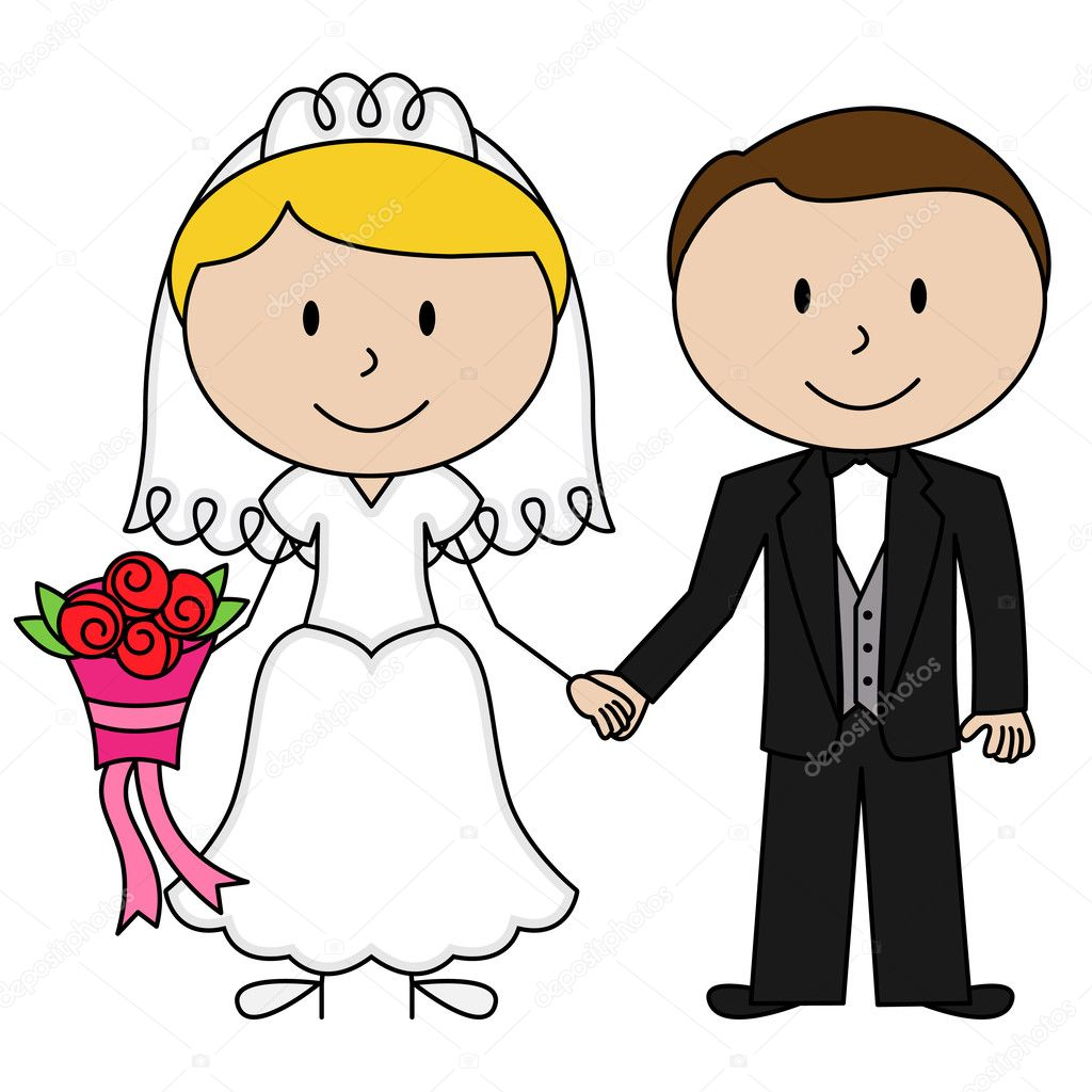 Clipart: bride and groom stick figures.