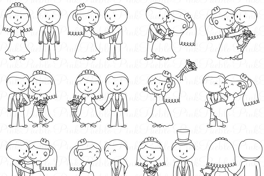 Wedding Stick Figure Clipart/Vector.