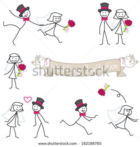 Set of vector stick figures: Wedding couple stick man, bride and.