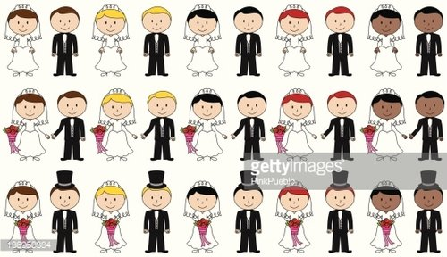 Large Set of Vector Bride and Groom Stick Figures premium clipart.