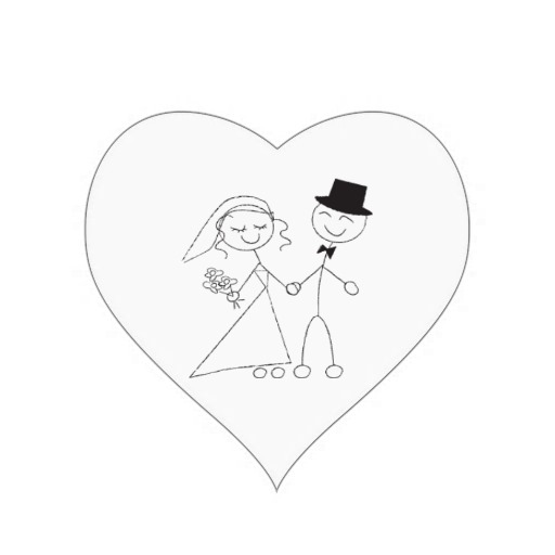 Wedding Hearts Stick Figure Bride Groom Wedding Heart Sticker.