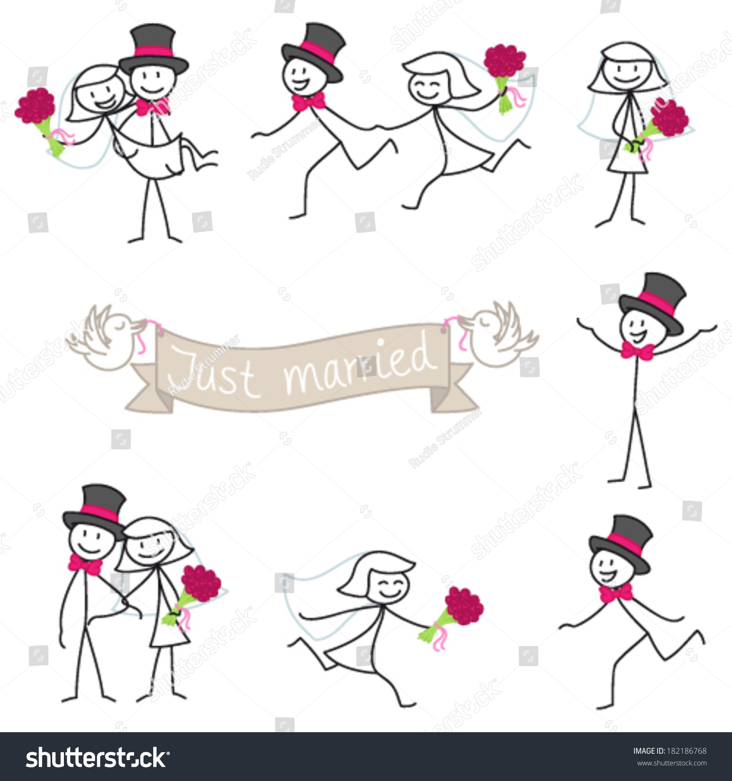 Set Vector Stick Figures Wedding Couple Stock Vector (Royalty Free.