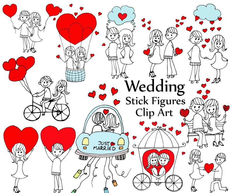 Wedding stick figure clipart: