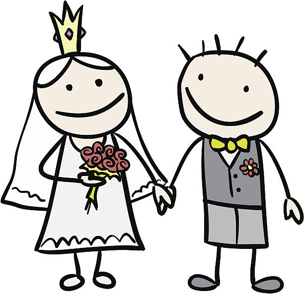 Best Bride And Groom Stick Figures Illustrations, Royalty.