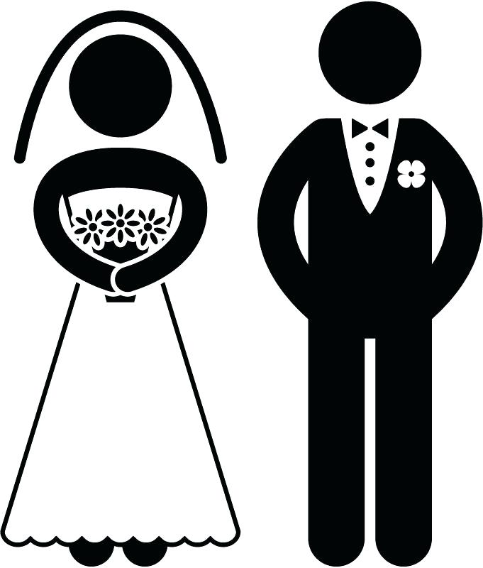 Bride And Groom Stick Figures On A Vintage Background With Place For.