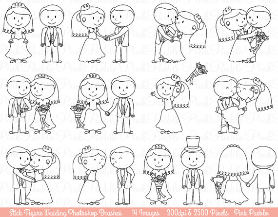Wedding Stick Figure Photoshop Brushes, Bride and Groom.