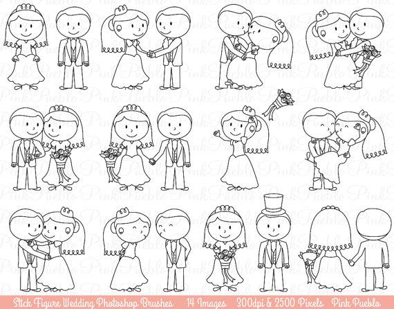 Wedding Stick Figure Photoshop Brushes, Bride and Groom.