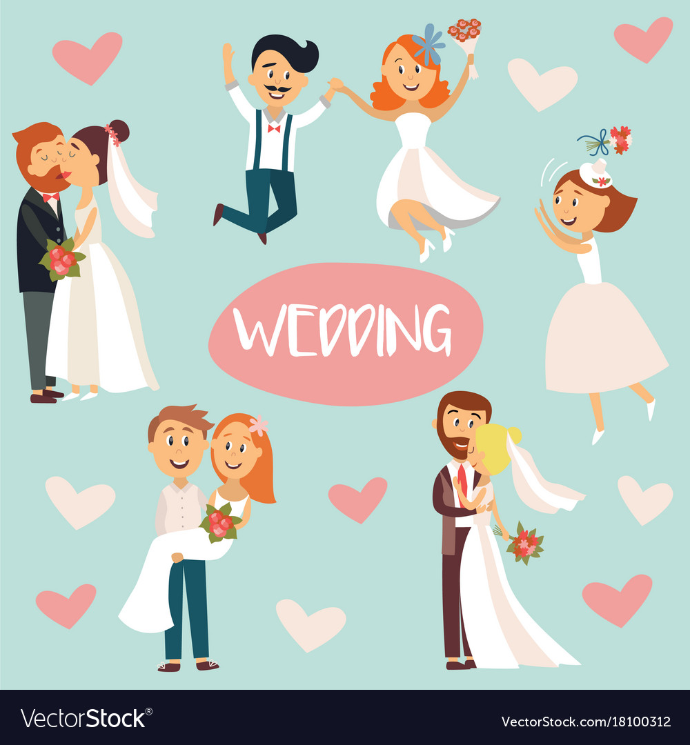 Funny cartoon wedding couple bride and groom.
