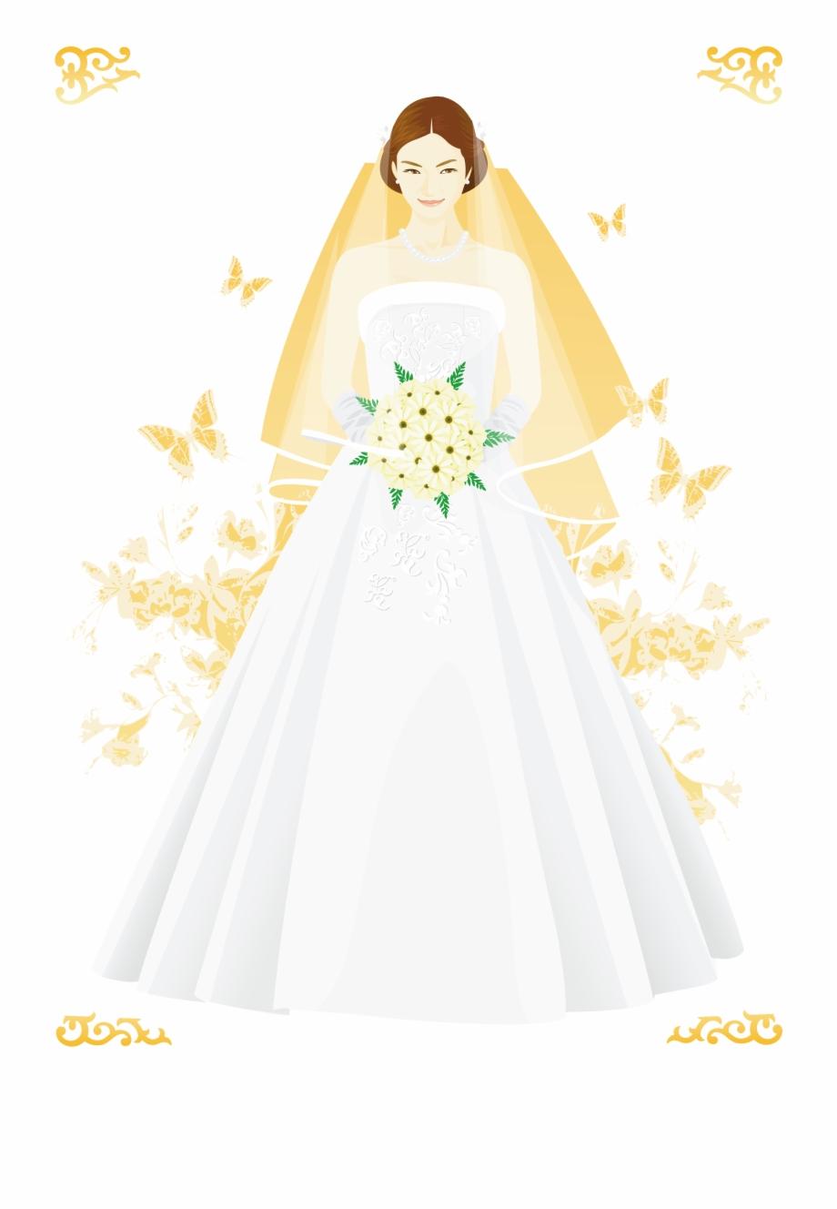 Bride Marriage Cartoon Veil Handpainted.