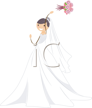 Illustration of a Bride Throwing Her Bouquet.