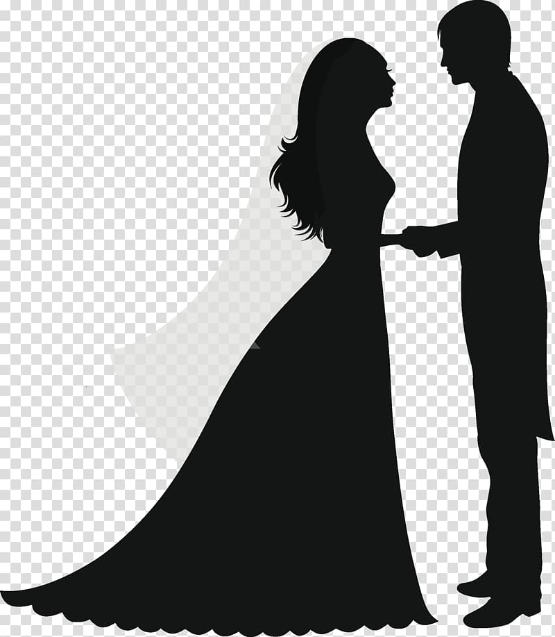 Groom and bride illustration, Wedding invitation Silhouette.