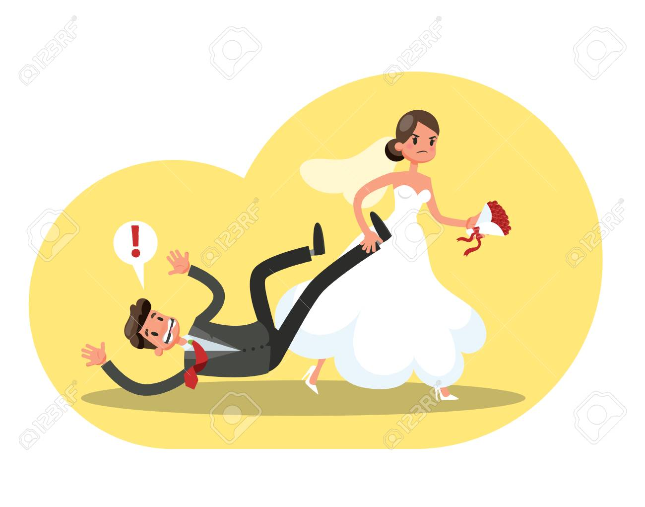 Angry bride in the white wedding dress dragging groom in the...
