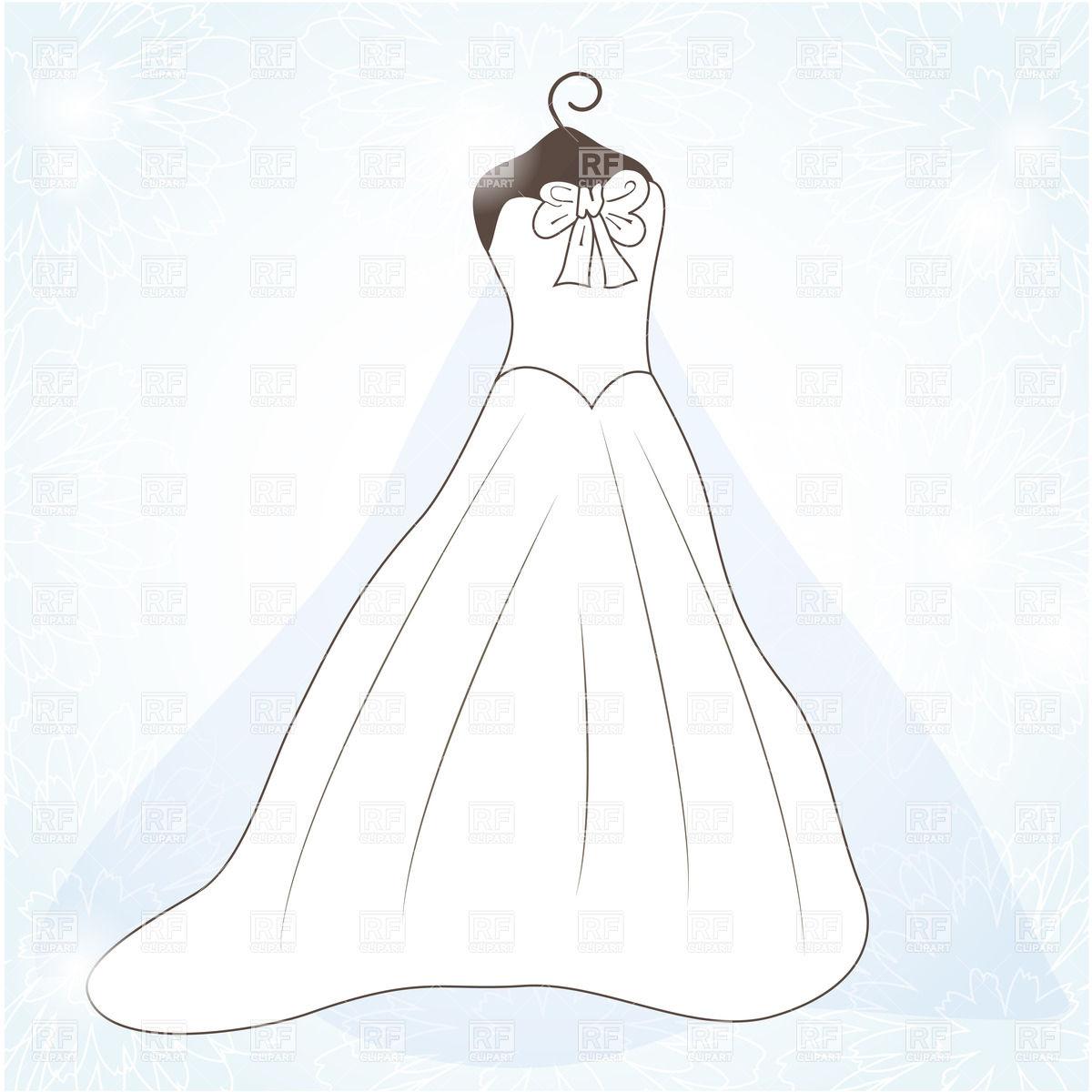 White wedding dress Stock Vector Image.