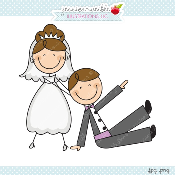 Bride Dragging Groom Clipart.