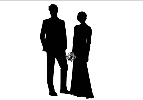 Wedding Couple Silhouette Vector Gorgeous Bride & Groom Silhouette.