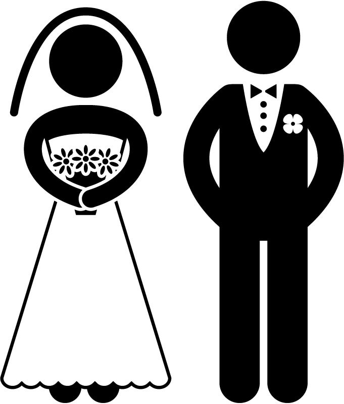 Cartoon funny bride and groom clipart.