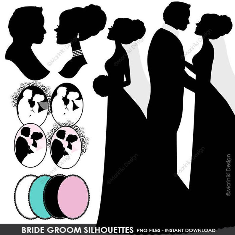 Bride Groom Silhouettes Clipart, Wedding Clipart, Couples Clipart, Digital  Scrapbook Craft Wedding Invitations INSTANT DOWNLOAD CLIPARTS C36.