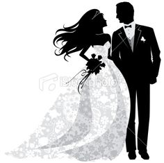 Bride And Groom Silhouette Clipart Black And White.