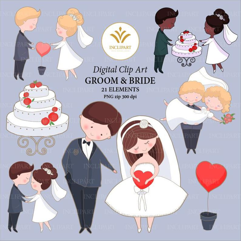 Wedding Bride Groom clipart. Wedding clip art set. Wedding cake, bride,  groom, heart clipart. Instant download in PNG format. Business use..