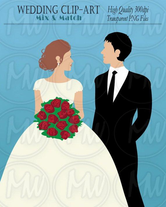 Wedding Clipart, Bride, Groom, Color Wedding Clip Art, Vector.