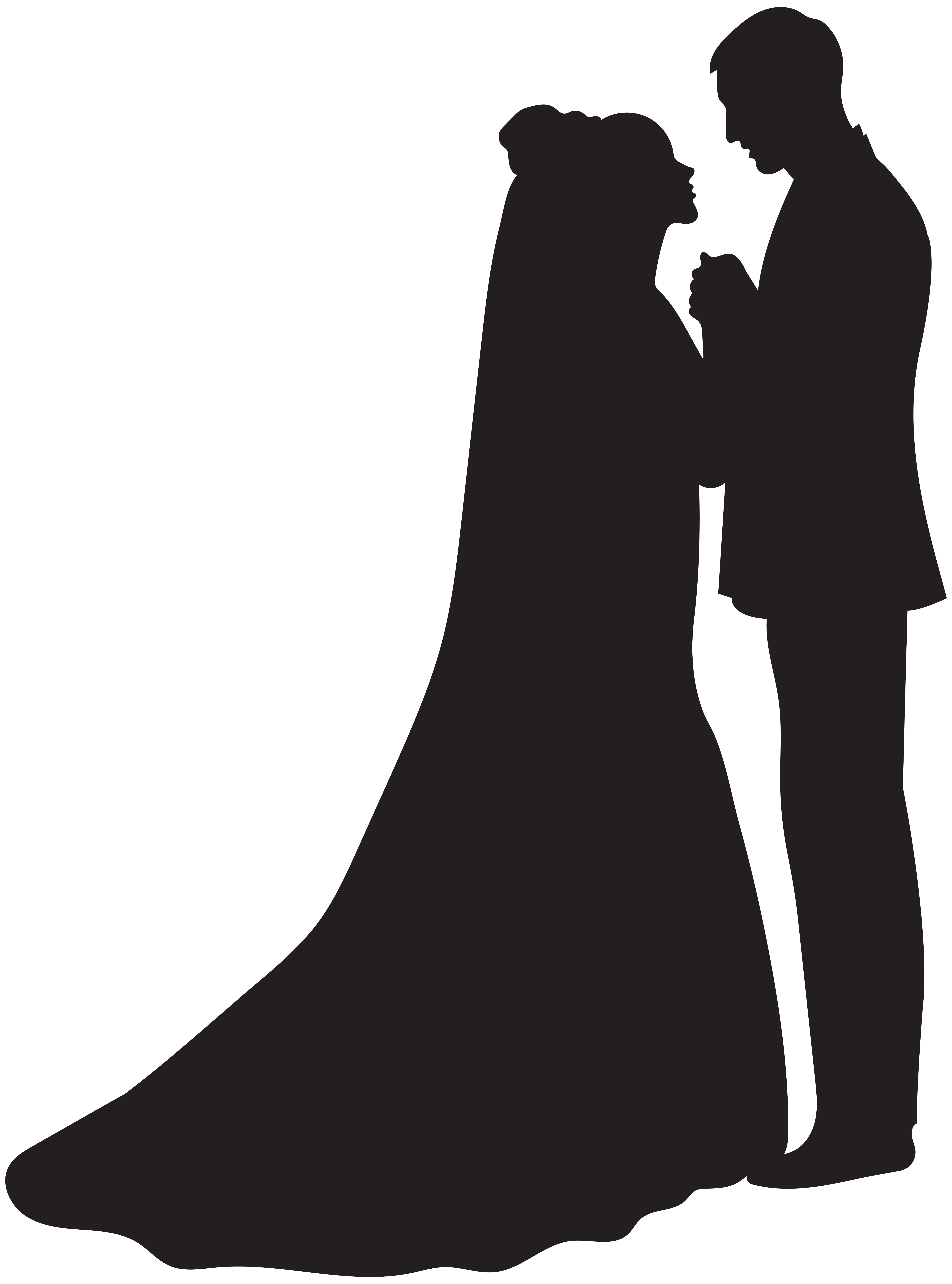 Bride and Groom Silhouette PNG Clip Art.