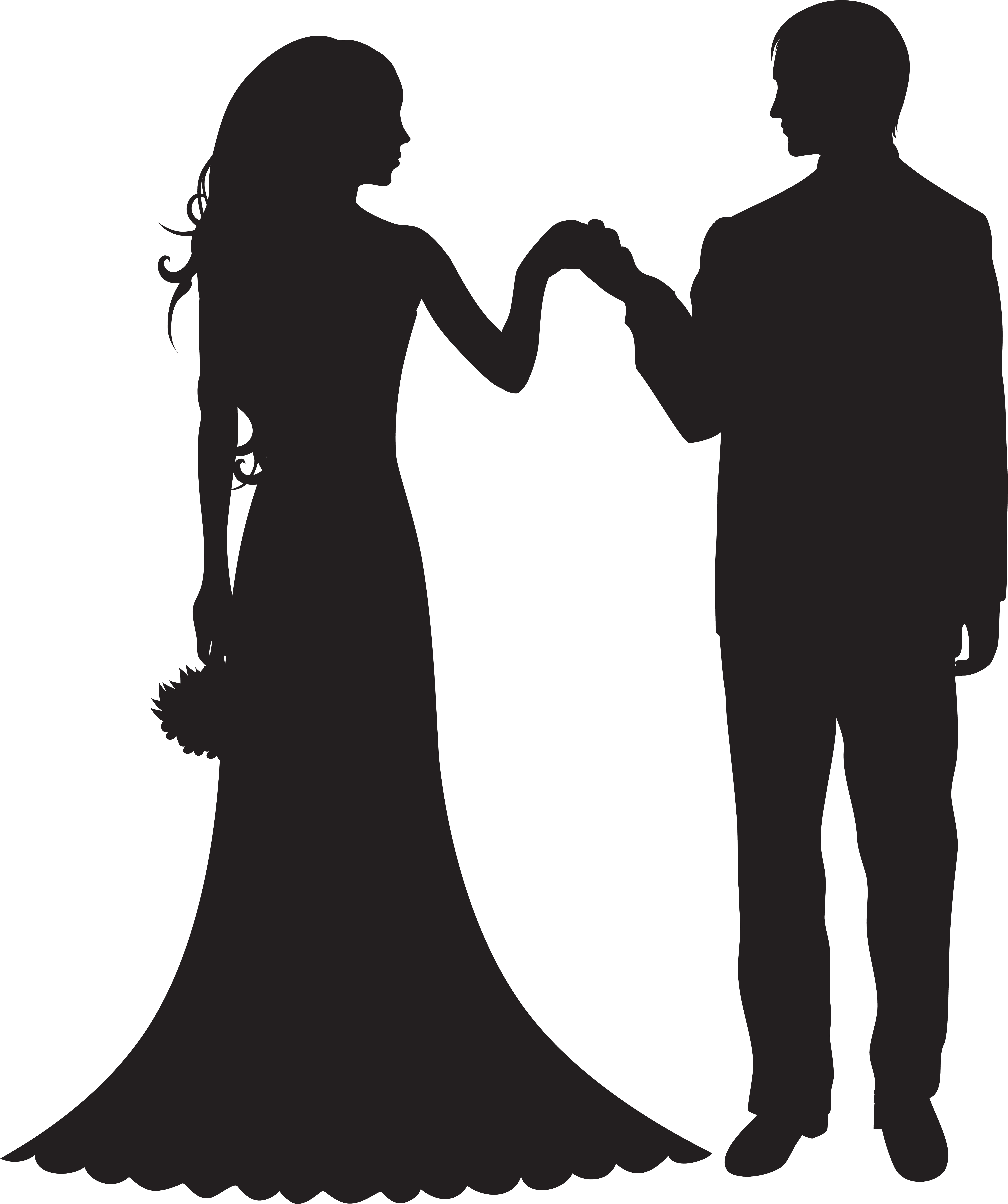 HD Bride And Groom Silhouette Clip Art , Free Unlimited Download.
