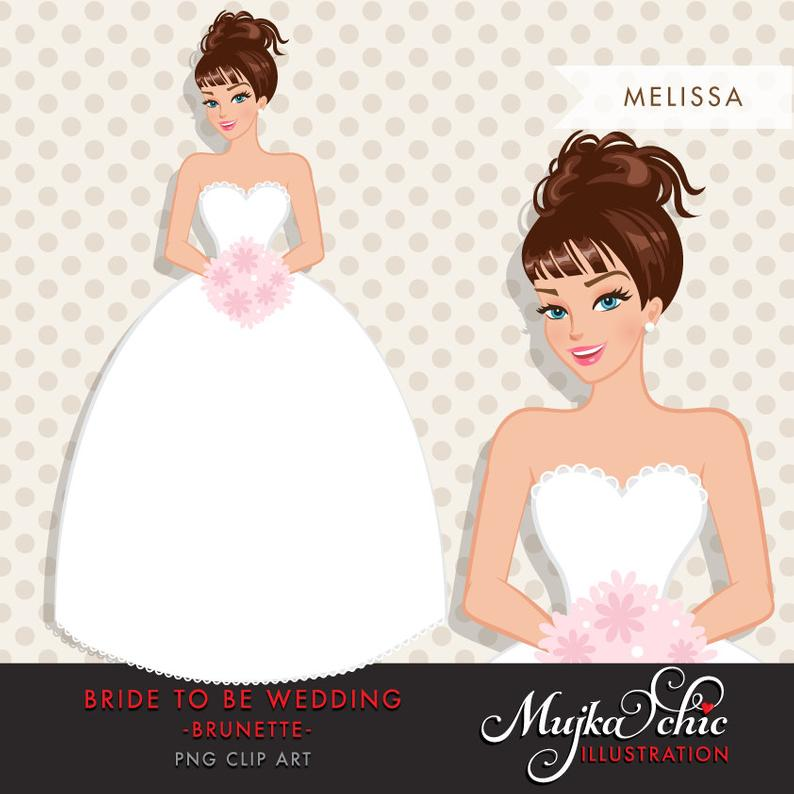 Brunette Bride Clipart. Bride to be wedding clipart, character  illustration, wedding invitation clipart, brunette woman, wedding gift.
