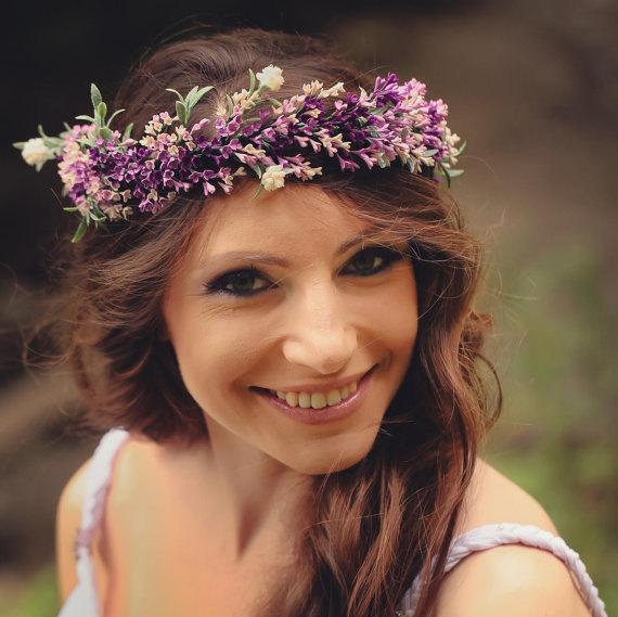 Purple hair Wreath bridal Flower crown bridal by Jewelrylimanska.
