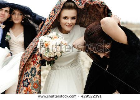 The Bride In The Rain Stock Photos, Royalty.