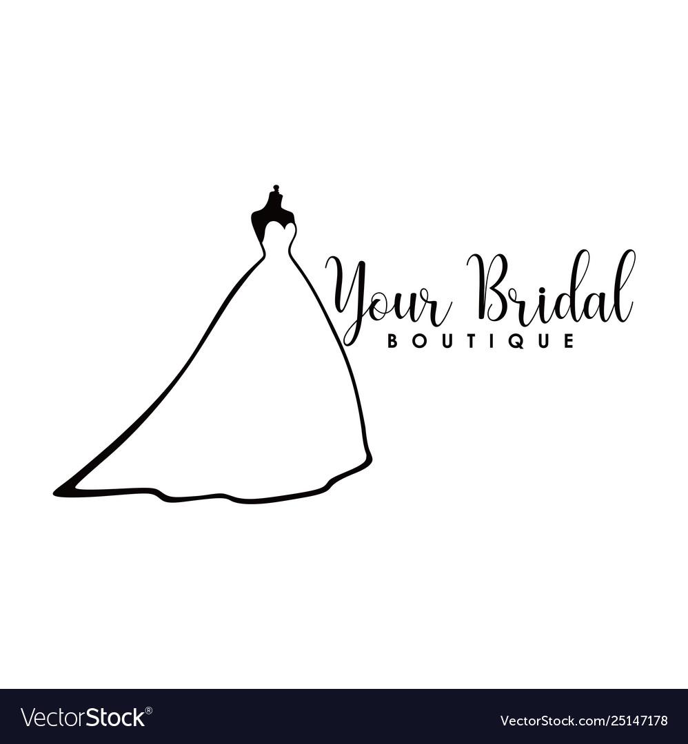 Monochrome bridal boutique logo wedding dresses.