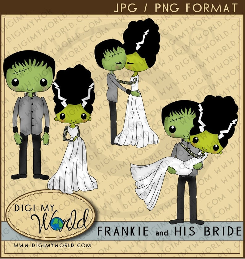 Halloween Frankenstein and his Bride clipart images.