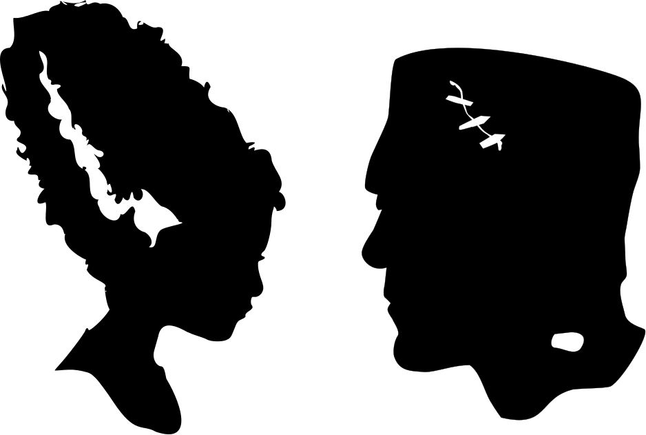 The Lady Wolf: Frankenstein and Bride Head Silhouettes.