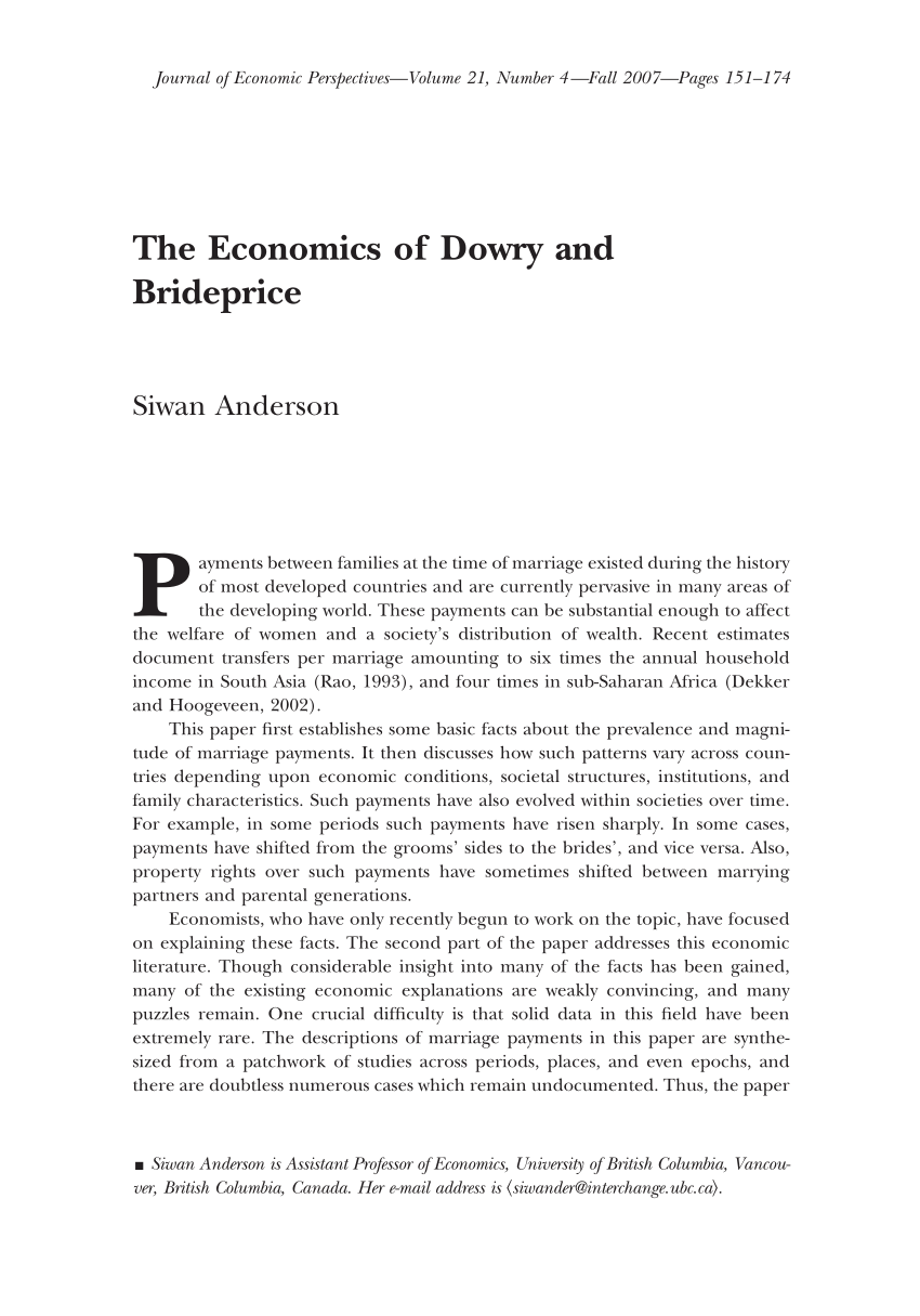 PDF) The Economics of Dowry and Brideprice.