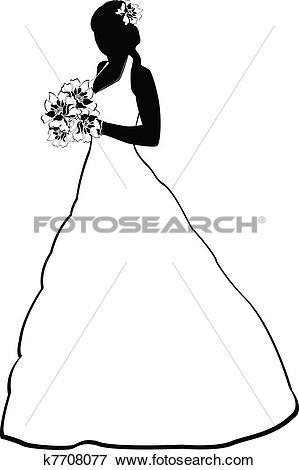 Clip Art of bride silhouette k7708077.