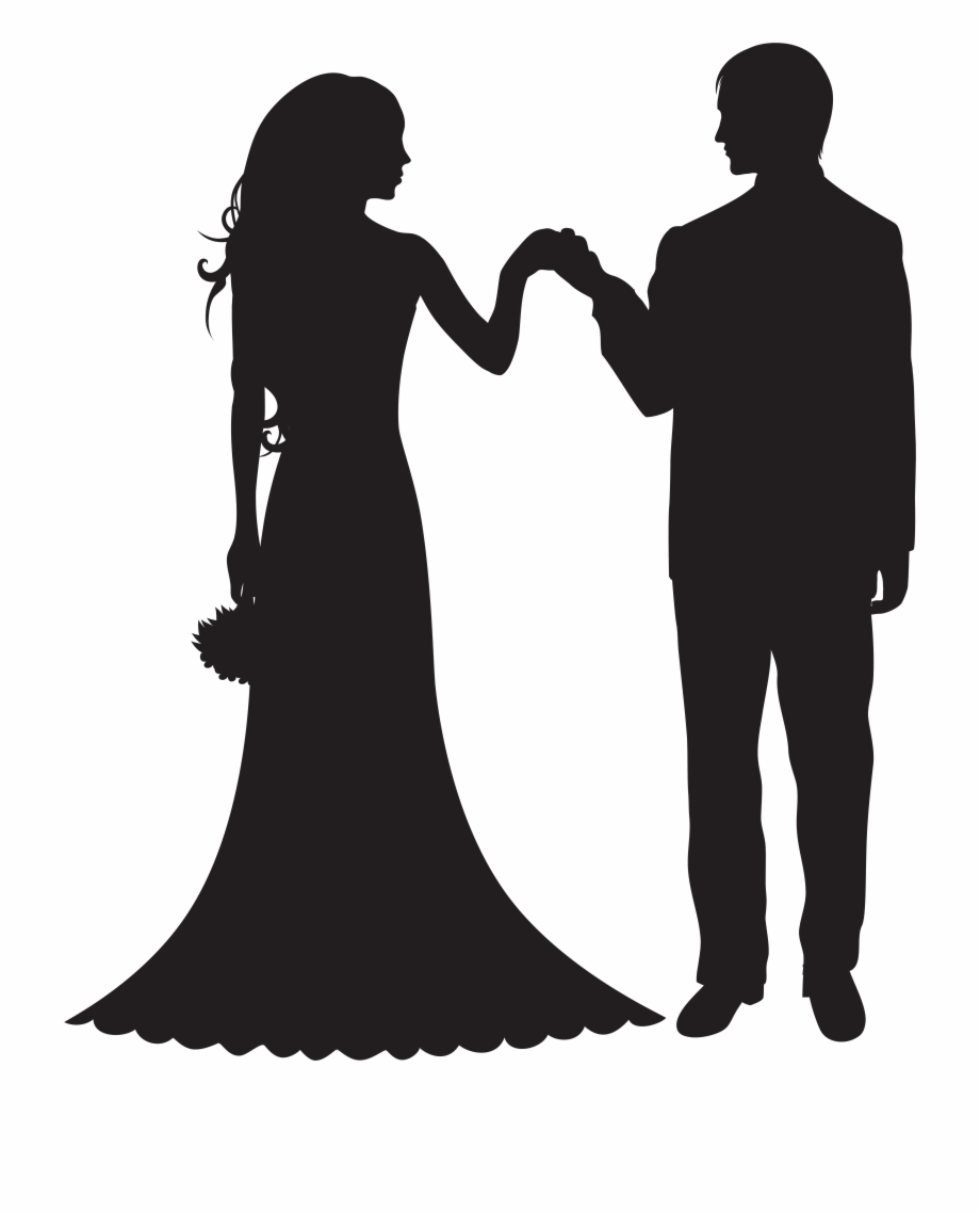 Library of bride and groom silhouette free clip transparent.