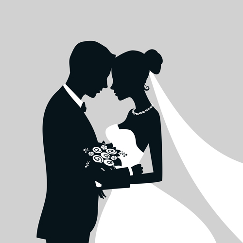 Bride And Groom Silhouette Vector Free.