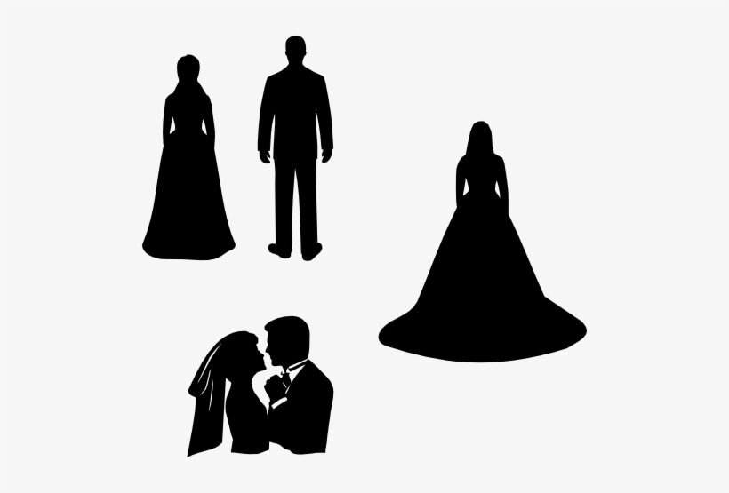 Free Stock Bride And Groom Silhouette Clipart Black.