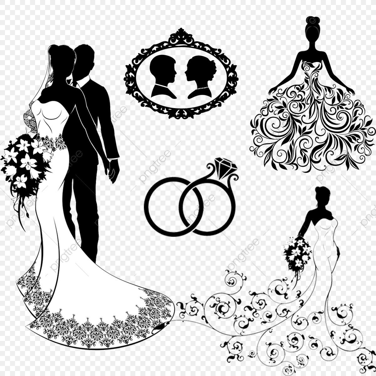 Brides Silhouettes, Silhoutte, Bride PNG Transparent Clipart Image.