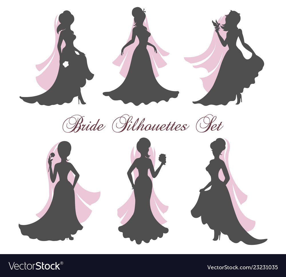 Bride silhouettes set.