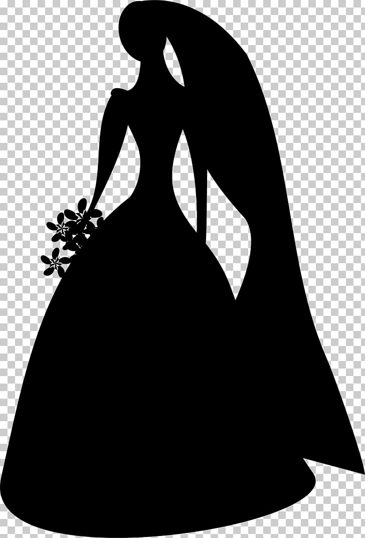 Silhouette Bridesmaid , bride PNG clipart.